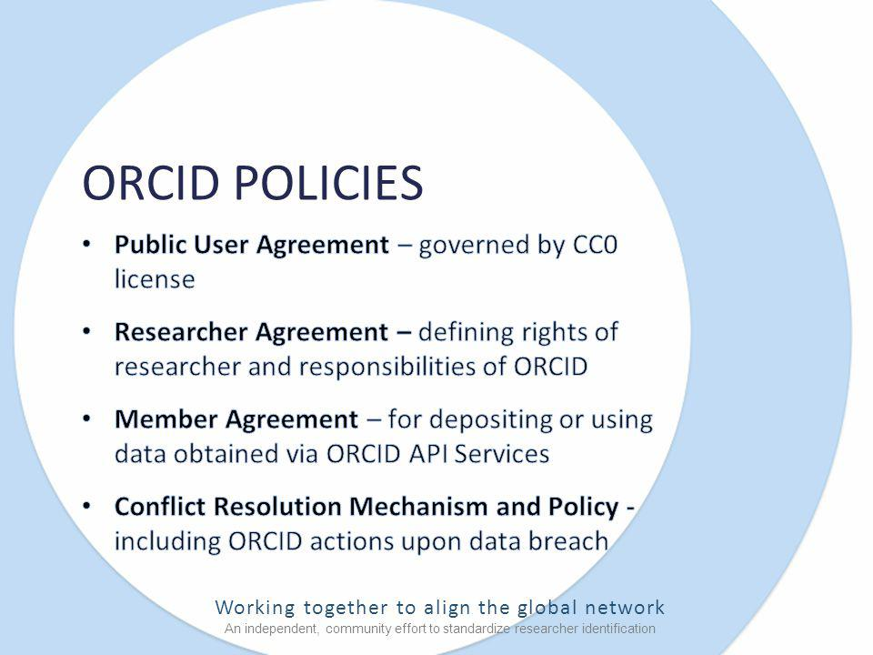 Working together to align the global network An independent, community effort to standardize researcher identification ORCID POLICIES