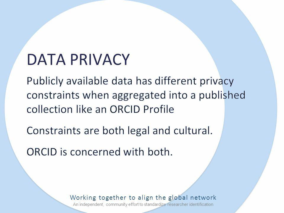 Working together to align the global network An independent, community effort to standardize researcher identification DATA PRIVACY