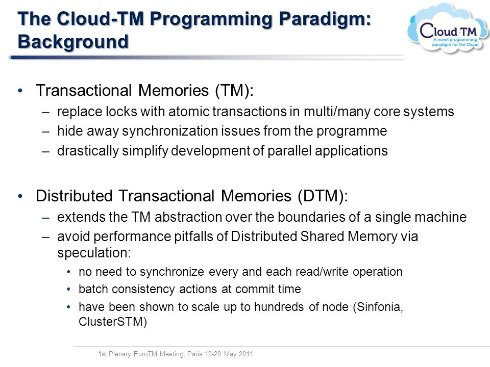 The Cloud-TM Programming Paradigm: Background Transactional Memories (TM): –replace locks with atomic transactions in multi/many core systems –hide aw