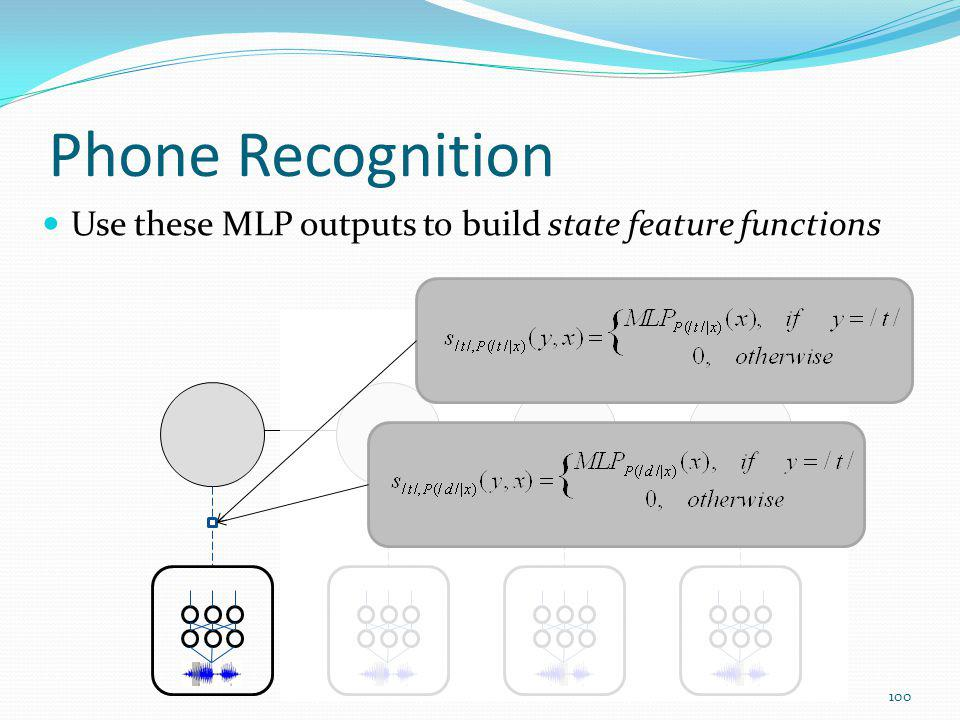 Phone Recognition Use these MLP outputs to build state feature functions 100