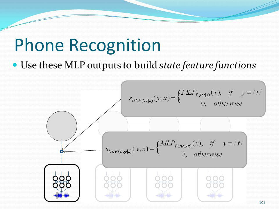 Phone Recognition Use these MLP outputs to build state feature functions 101