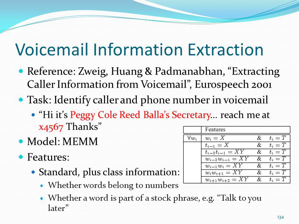 Voicemail Information Extraction Reference: Zweig, Huang & Padmanabhan, Extracting Caller Information from Voicemail, Eurospeech 2001 Task: Identify c