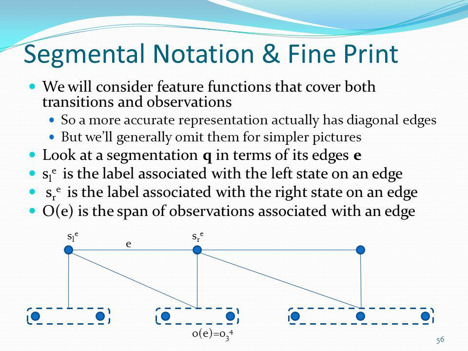 Segmental Notation & Fine Print We will consider feature functions that cover both transitions and observations So a more accurate representation actu