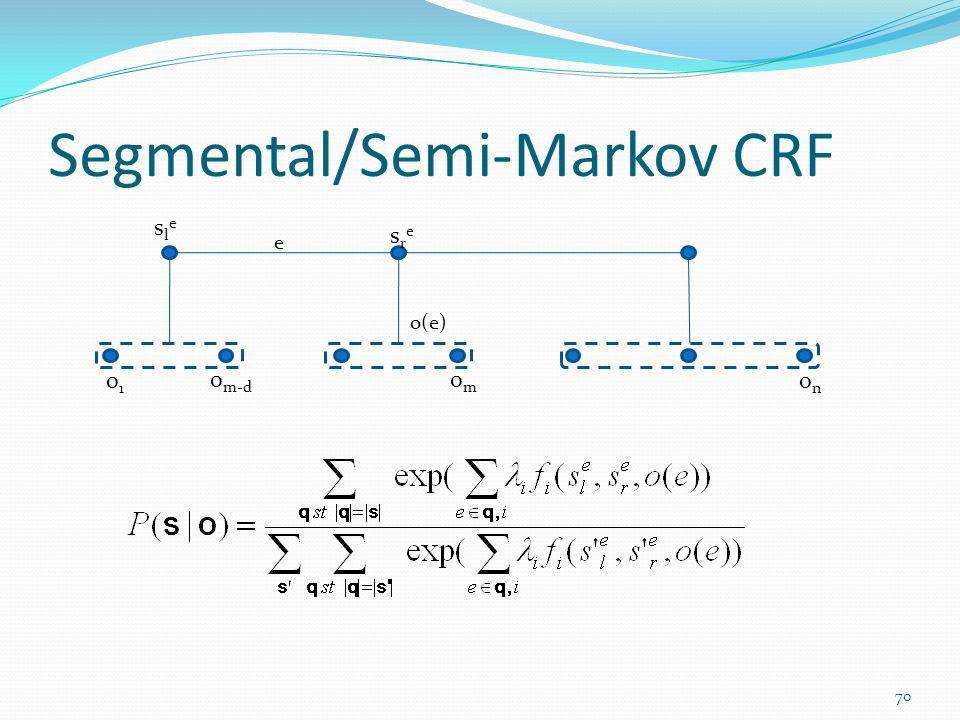 Segmental/Semi-Markov CRF o1o1 onon sresre omom o m-d o(e) slesle e 70