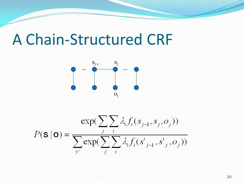 A Chain-Structured CRF …… sjsj s j-1 ojoj 86