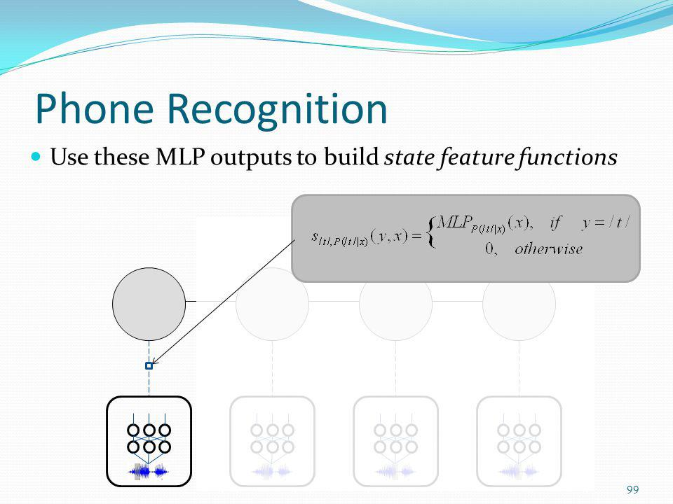 Phone Recognition Use these MLP outputs to build state feature functions 99