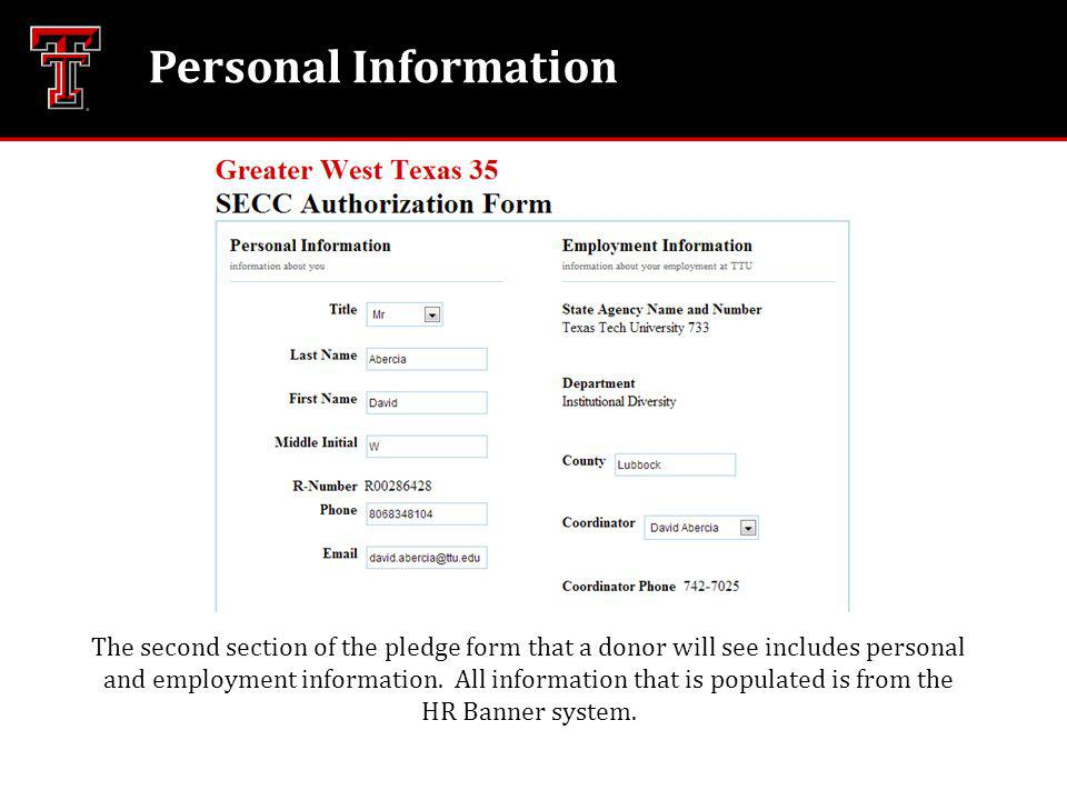 Personal Information The second section of the pledge form that a donor will see includes personal and employment information.