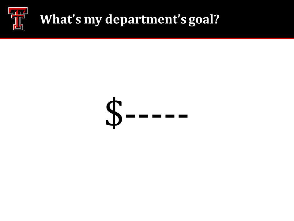 Whats my departments goal $-----