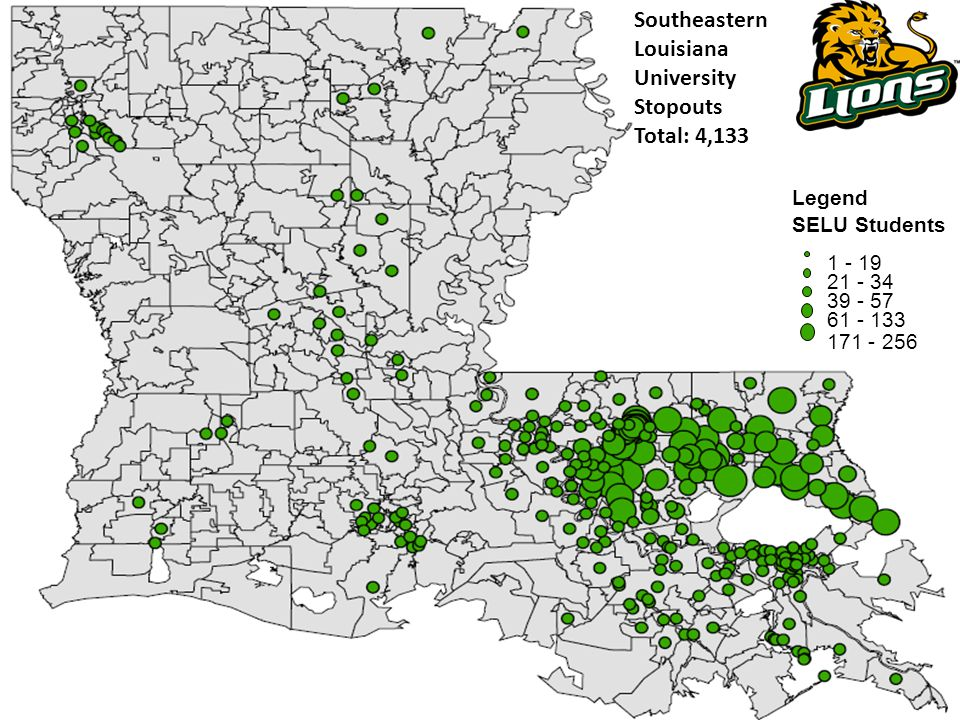 Southeastern Louisiana University Stopouts Total: 4,133 Legend SELU Students 1 - 19 21 - 34 39 - 57 61 - 133 171 - 256