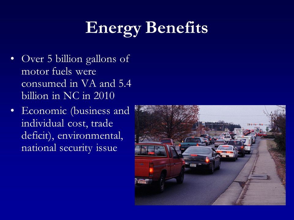Energy Benefits Over 5 billion gallons of motor fuels were consumed in VA and 5.4 billion in NC in 2010 Economic (business and individual cost, trade deficit), environmental, national security issue