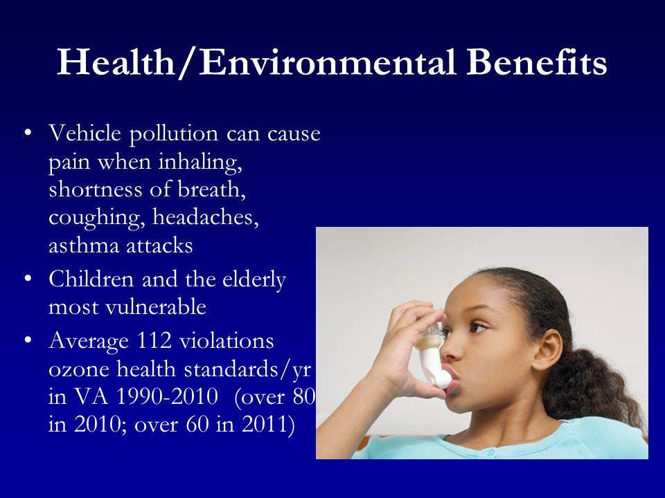 Health/Environmental Benefits Vehicle pollution can cause pain when inhaling, shortness of breath, coughing, headaches, asthma attacks Children and the elderly most vulnerable Average 112 violations ozone health standards/yr in VA 1990-2010 (over 80 in 2010; over 60 in 2011)