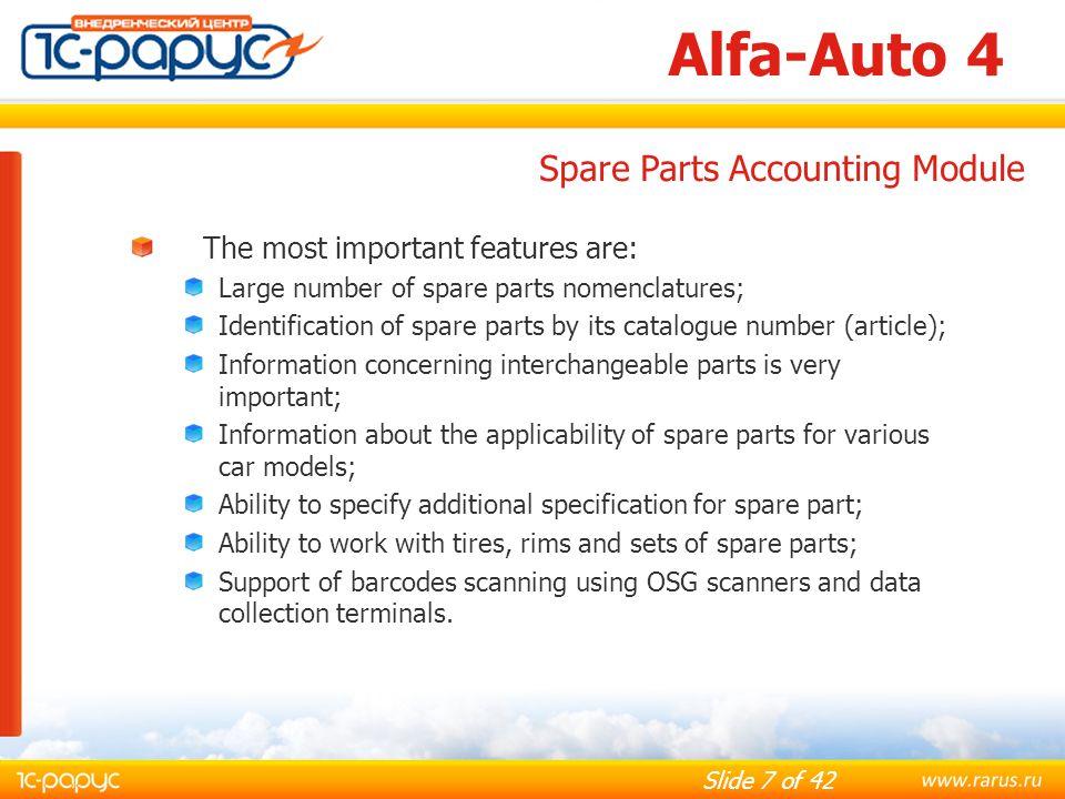 Slide 38 of 42 Alfa-Auto 4 Financial Reports: Profit and Losses; Assets and Liabilities; Debtors and Creditors; Trial Balance; Cash Flow.