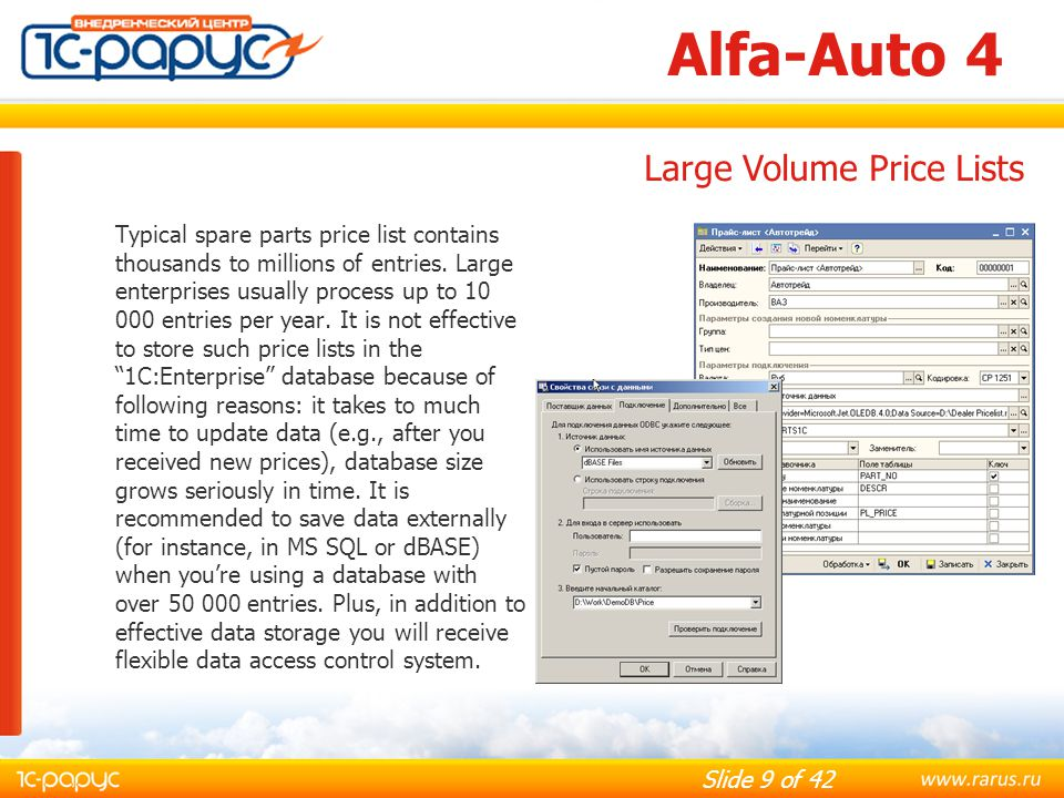 Slide 40 of 42 Alfa-Auto 4 Sales reports: Sales analysis; Sales rating; ABC analysis; XYZ analysis; ABC-XYZ analysis; Price movement; Price list; Contactors Price list; Loss of profit.