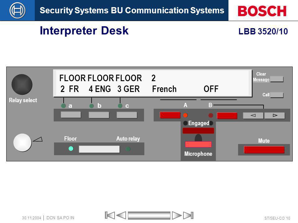 Security Systems BU Communication Systems ST/SEU-CO 10 DCN SA PO IN 30.11.2004 Interpreter Desk LBB 3520/10 a bc Floor Auto relay A B Mute FLOOR FLOOR