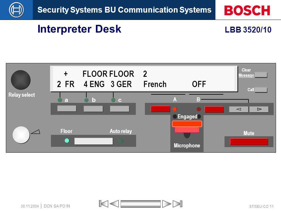 Security Systems BU Communication Systems ST/SEU-CO 11 DCN SA PO IN 30.11.2004 Interpreter Desk LBB 3520/10 a bc Floor Auto relay A B Mute + FLOOR FLO