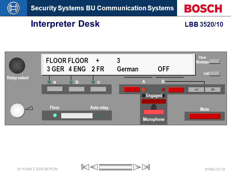 Security Systems BU Communication Systems ST/SEU-CO 12 DCN SA PO IN 30.11.2004 Interpreter Desk LBB 3520/10 a bc Floor Auto relay A B Mute FLOOR FLOOR