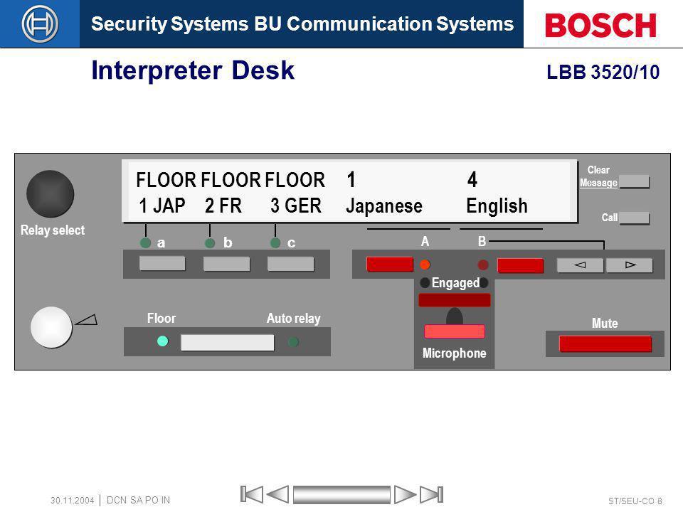 Security Systems BU Communication Systems ST/SEU-CO 8 DCN SA PO IN 30.11.2004 Interpreter Desk LBB 3520/10 a bc Floor Auto relay A B Mute FLOOR FLOOR