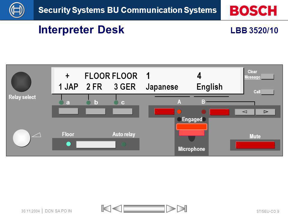 Security Systems BU Communication Systems ST/SEU-CO 9 DCN SA PO IN 30.11.2004 Interpreter Desk LBB 3520/10 a bc Floor Auto relay A B Mute + FLOOR FLOO