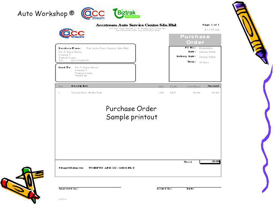 Cash Sales Printout