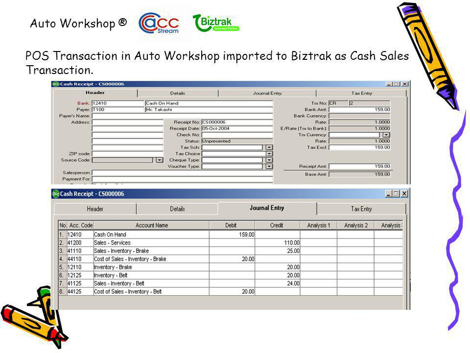 Auto Workshop ® Vendor Invoice Imported from Auto Workshop using E-bridge In Biztrak Accounting