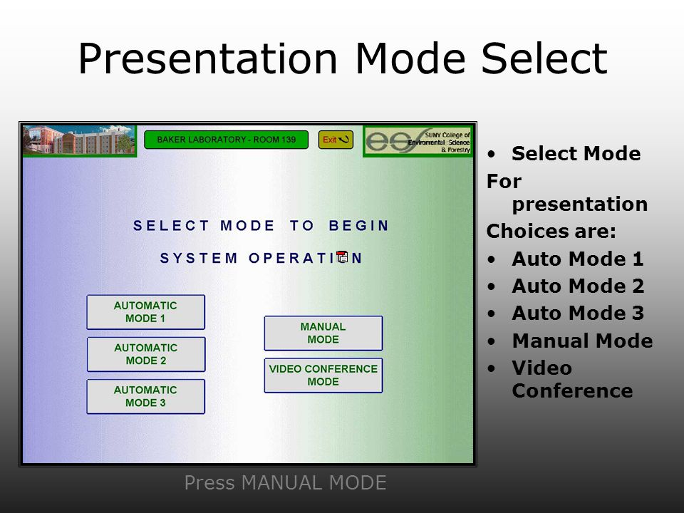 Presentation Mode Select Select Mode For presentation Choices are: Auto Mode 1 Auto Mode 2 Auto Mode 3 Manual Mode Video Conference Press MANUAL MODE