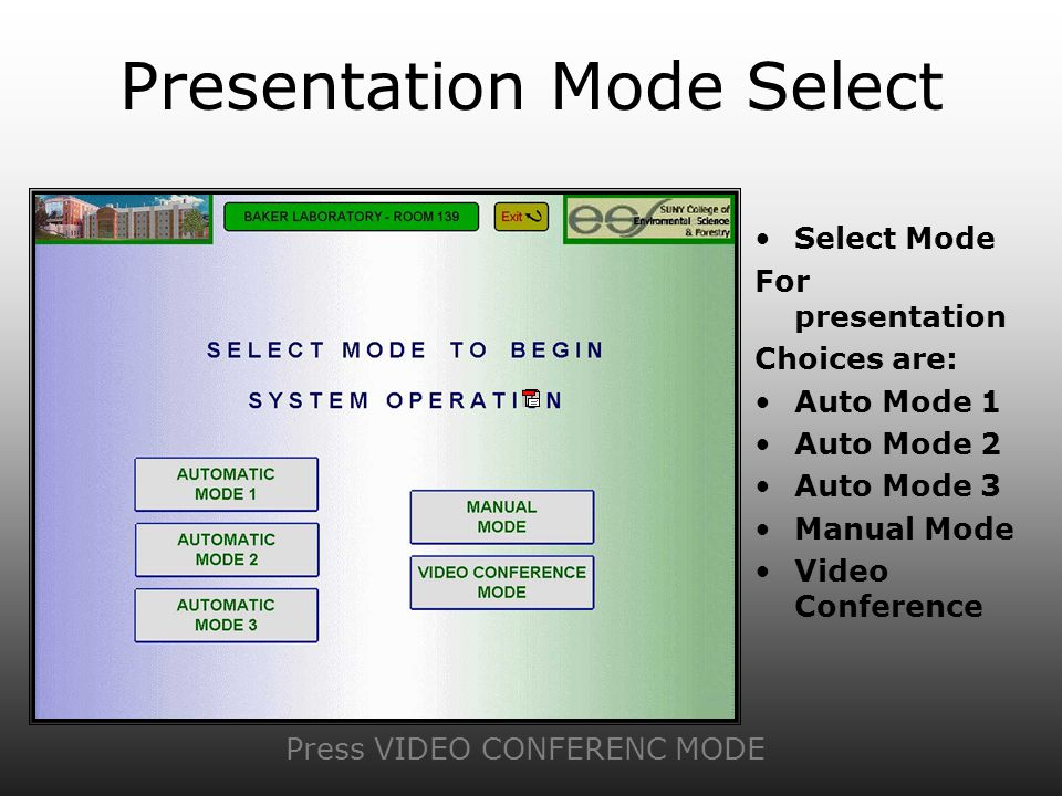 Presentation Mode Select Select Mode For presentation Choices are: Auto Mode 1 Auto Mode 2 Auto Mode 3 Manual Mode Video Conference Press VIDEO CONFER