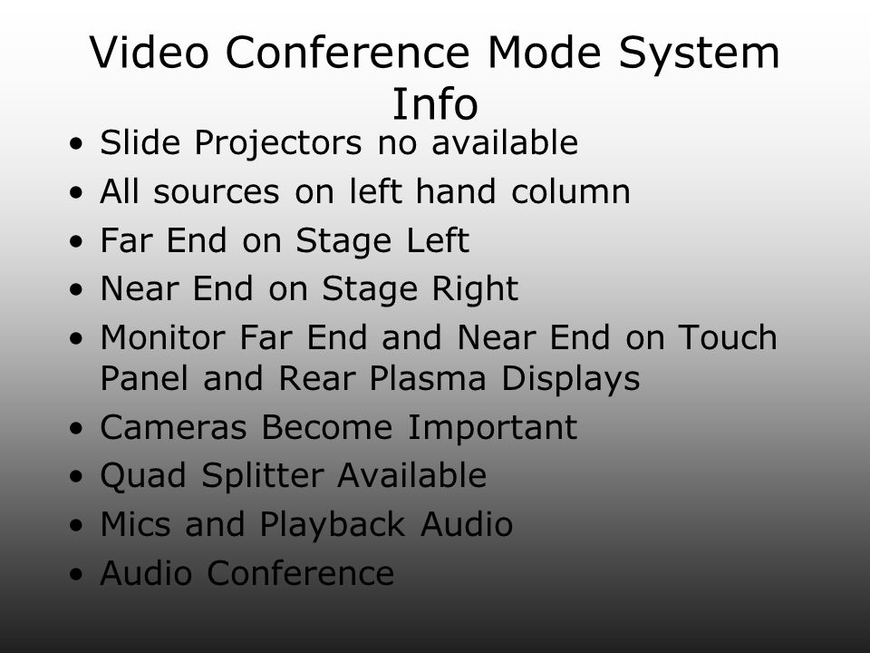 Video Conference Mode System Info Slide Projectors no available All sources on left hand column Far End on Stage Left Near End on Stage Right Monitor Far End and Near End on Touch Panel and Rear Plasma Displays Cameras Become Important Quad Splitter Available Mics and Playback Audio Audio Conference