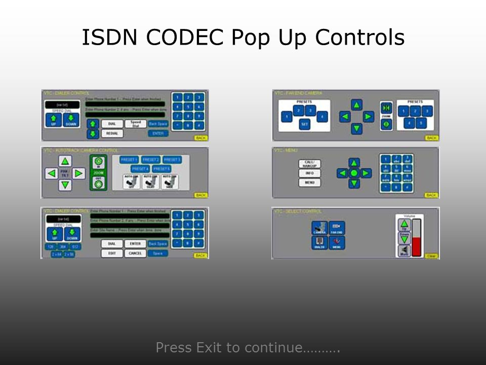 ISDN CODEC Pop Up Controls Press Exit to continue……….