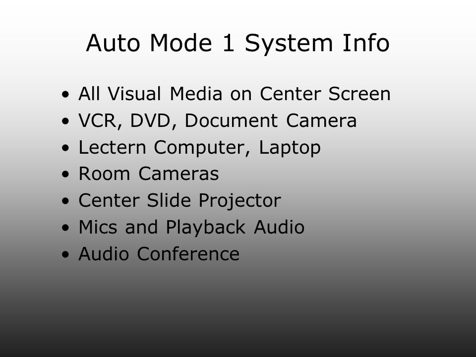 Auto Mode 1 System Info All Visual Media on Center Screen VCR, DVD, Document Camera Lectern Computer, Laptop Room Cameras Center Slide Projector Mics and Playback Audio Audio Conference