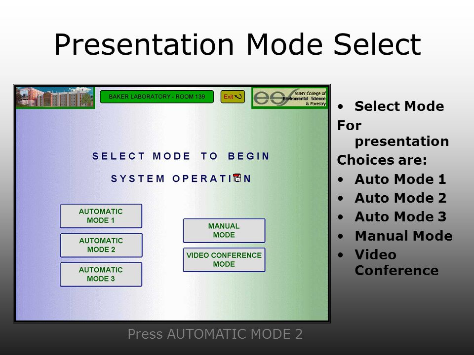 Presentation Mode Select Select Mode For presentation Choices are: Auto Mode 1 Auto Mode 2 Auto Mode 3 Manual Mode Video Conference Press AUTOMATIC MODE 2