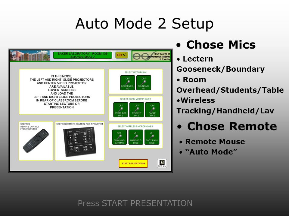 Auto Mode 2 Setup Chose Mics Press START PRESENTATION Lectern Gooseneck/Boundary Room Overhead/Students/Table Wireless Tracking/Handheld/Lav Chose Rem