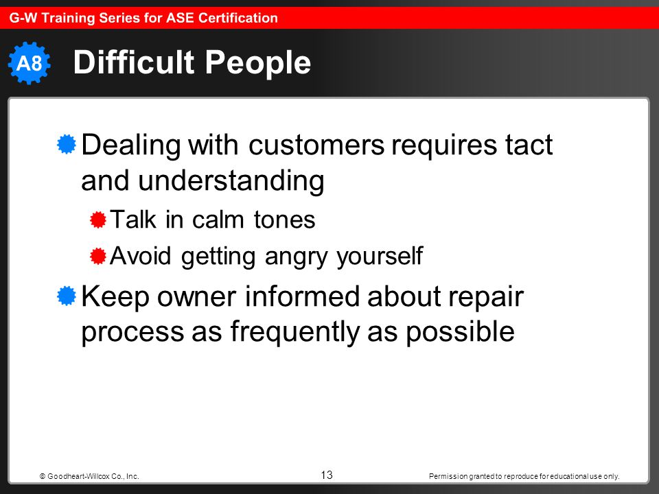 Permission granted to reproduce for educational use only. 13 © Goodheart-Willcox Co., Inc. Difficult People Dealing with customers requires tact and u