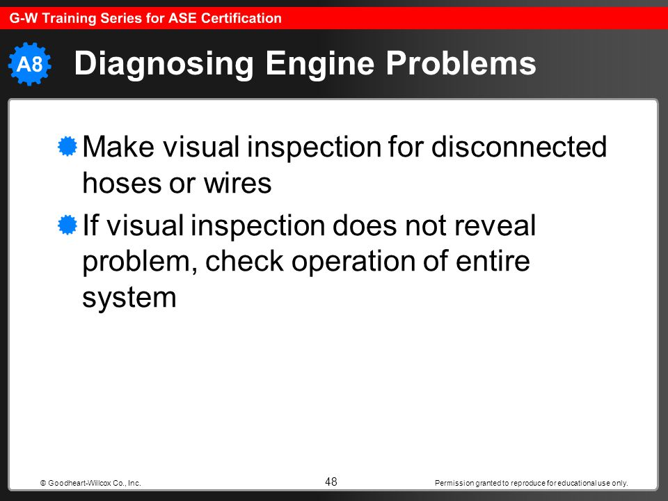 Permission granted to reproduce for educational use only. 48 © Goodheart-Willcox Co., Inc. Diagnosing Engine Problems Make visual inspection for disco