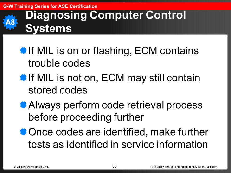 Permission granted to reproduce for educational use only. 53 © Goodheart-Willcox Co., Inc. Diagnosing Computer Control Systems If MIL is on or flashin