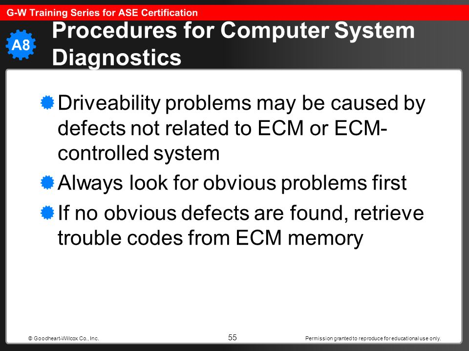 Permission granted to reproduce for educational use only. 55 © Goodheart-Willcox Co., Inc. Procedures for Computer System Diagnostics Driveability pro