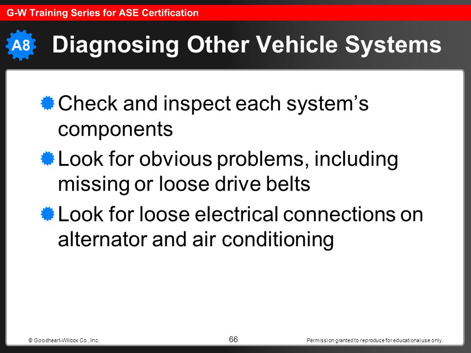 Permission granted to reproduce for educational use only. 66 © Goodheart-Willcox Co., Inc. Diagnosing Other Vehicle Systems Check and inspect each sys