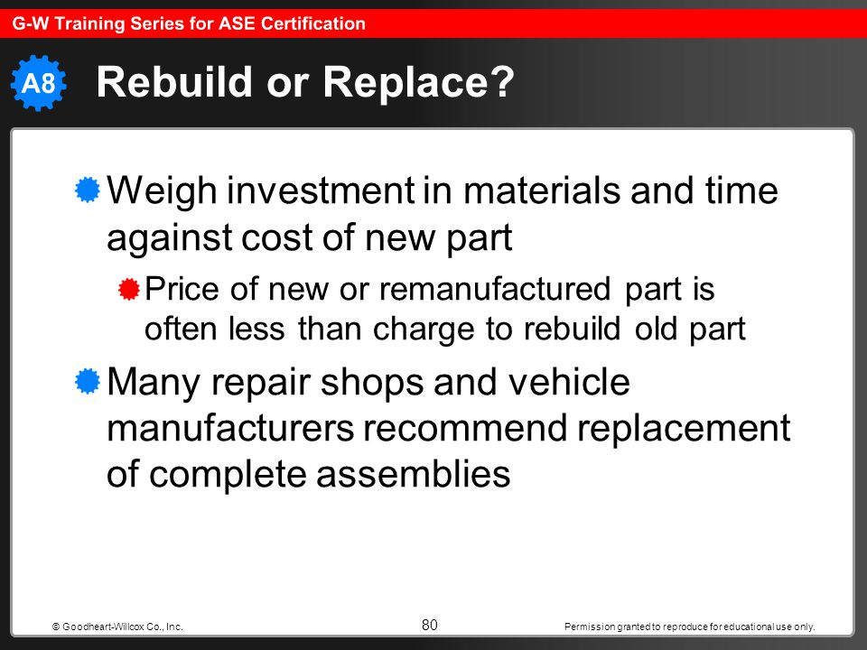 Permission granted to reproduce for educational use only. 80 © Goodheart-Willcox Co., Inc. Rebuild or Replace? Weigh investment in materials and time
