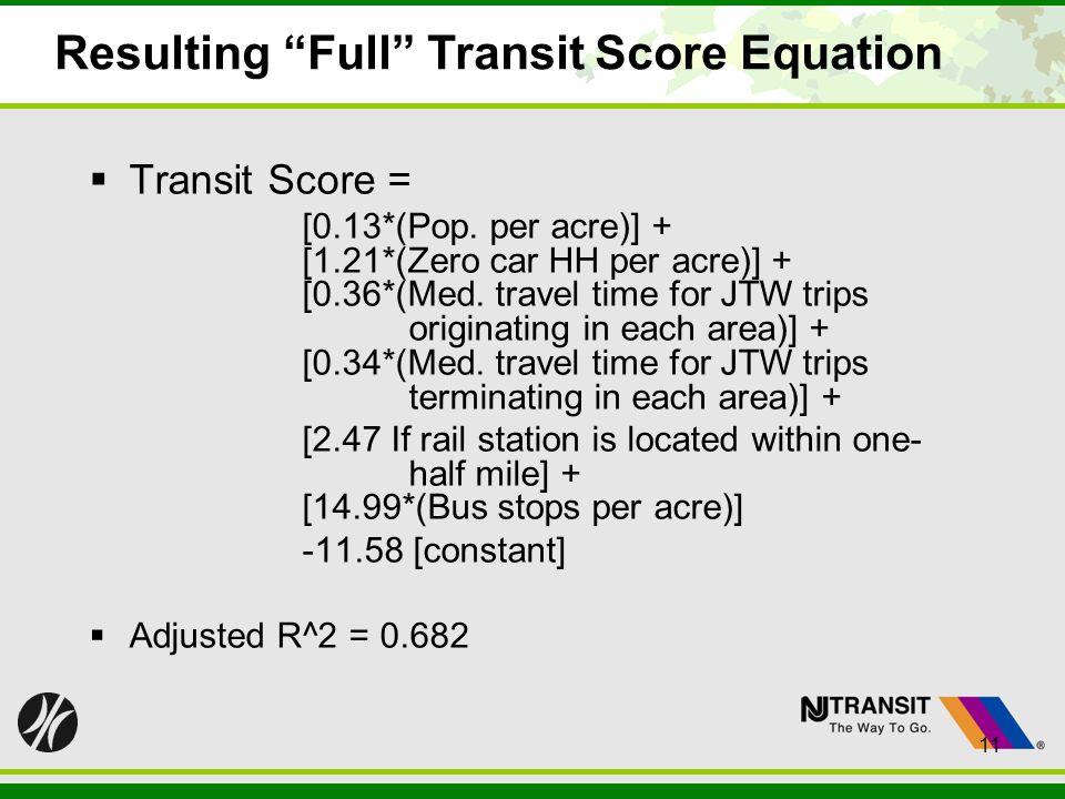 11 Resulting Full Transit Score Equation Transit Score = [0.13*(Pop. per acre)] + [1.21*(Zero car HH per acre)] + [0.36*(Med. travel time for JTW trip