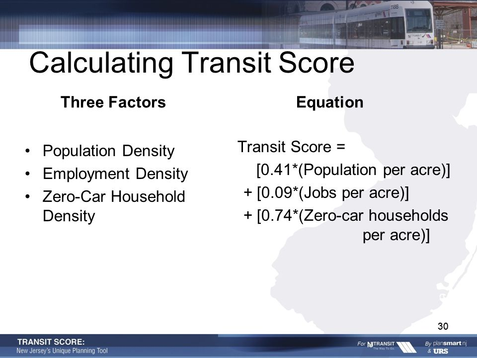 30 Calculating Transit Score Three Factors Population Density Employment Density Zero-Car Household Density Equation Transit Score = [0.41*(Population per acre)] + [0.09*(Jobs per acre)] + [0.74*(Zero-car households per acre)] 30
