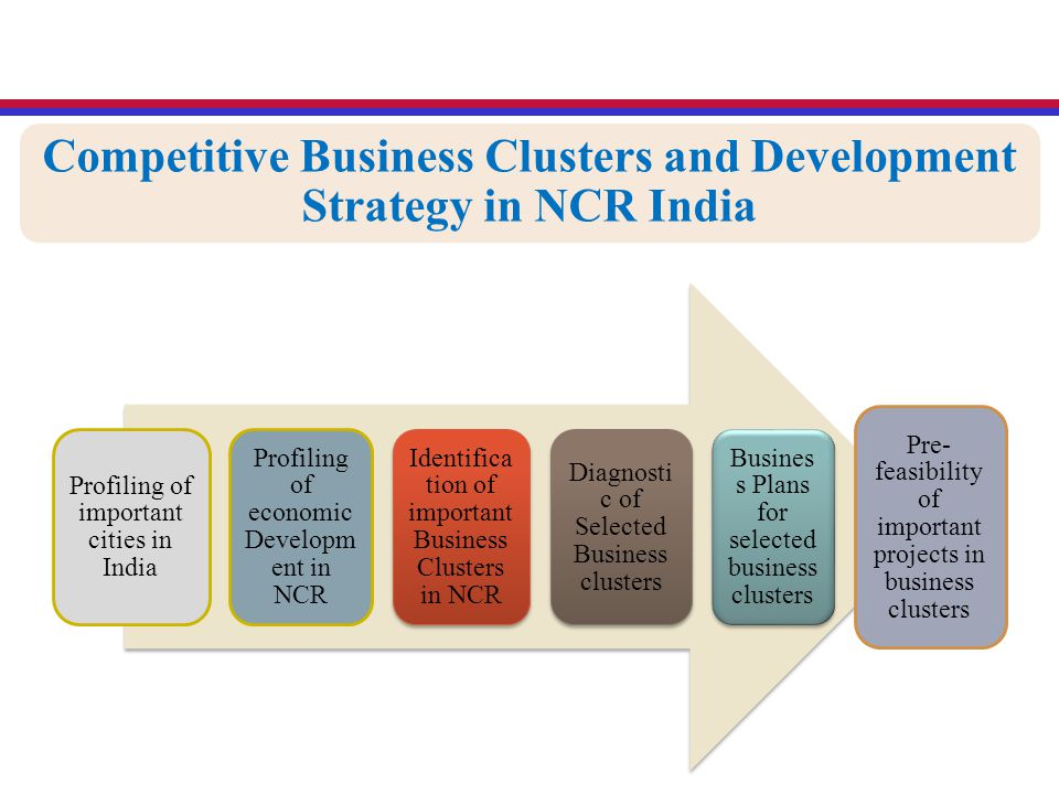 Competitive Business Clusters and Development Strategy in NCR India Profiling of important cities in India Profiling of economic Developm ent in NCR Identifica tion of important Business Clusters in NCR Diagnosti c of Selected Business clusters Busines s Plans for selected business clusters Pre- feasibility of important projects in business clusters