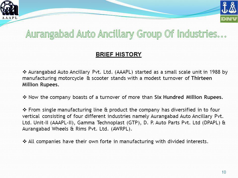 10 Aurangabad Auto Ancillary Pvt. Ltd. (AAAPL) started as a small scale unit in 1988 by manufacturing motorcycle & scooter stands with a modest turnov