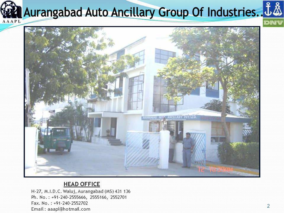 2 HEAD OFFICE H-27, M.I.D.C. Waluj, Aurangabad (MS) 431 136 Ph. No. : +91-240-2555666, 2555166, 2552701 Fax. No. : +91-240-2552702 Email : aaapl@hotma