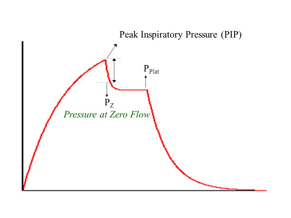 Peak Alveolar Pressure (P plat ) P alv can not be measured directly If flow is present, during inspiration: P aw > P plat Measurement by end-inspirato