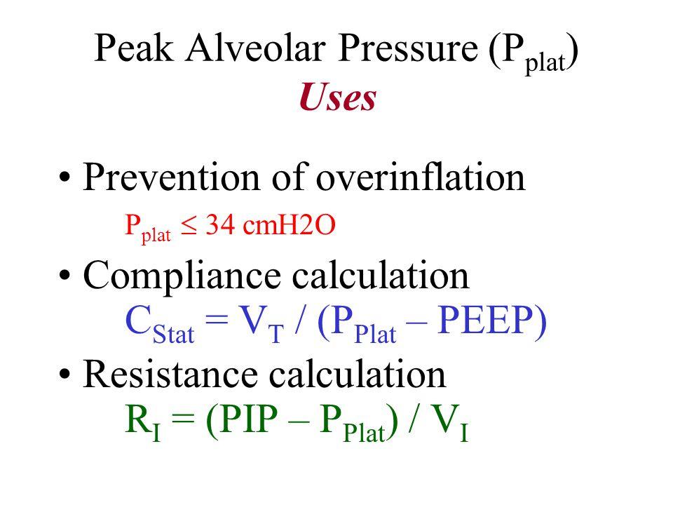 Peak Inspiratory Pressure (PIP) PZPZ Pressure at Zero Flow P Plat