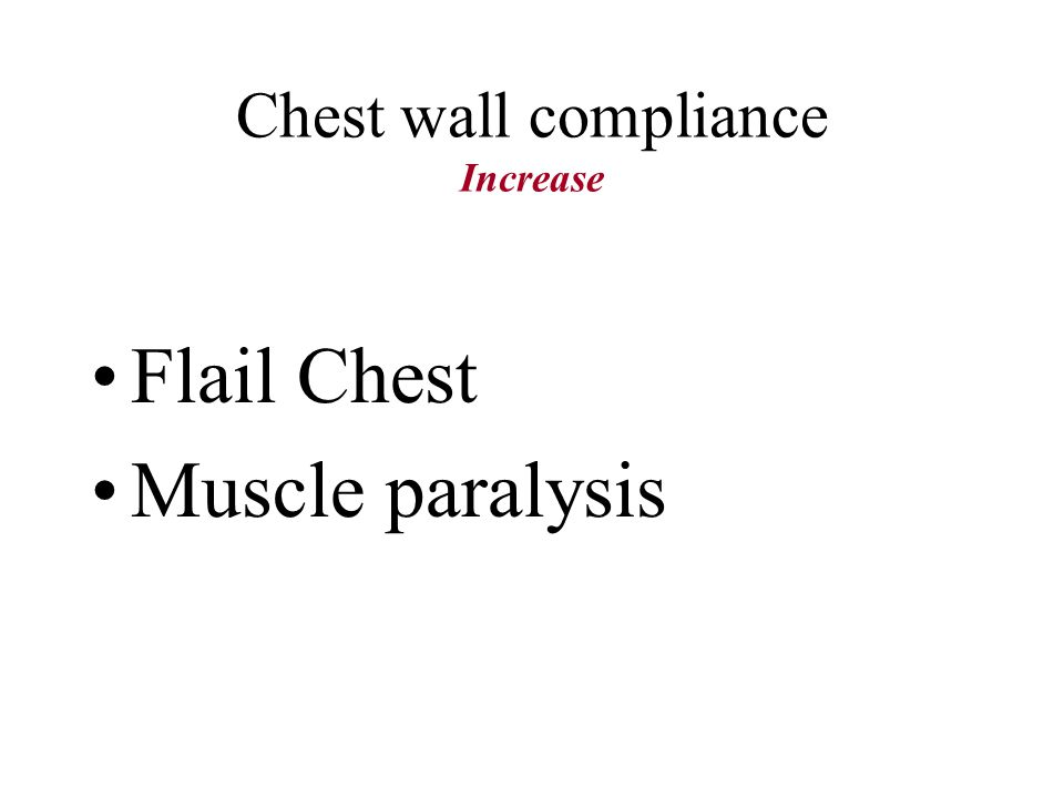 Chest wall compliance Decrease Abdominal distension Chest wall edema Chest wall burn Thoracic deformities Muscle tone
