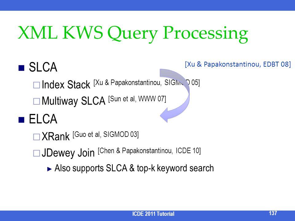 XML KWS Query Processing SLCA Index Stack [Xu & Papakonstantinou, SIGMOD 05] Multiway SLCA [Sun et al, WWW 07] ELCA XRank [Guo et al, SIGMOD 03] JDewe