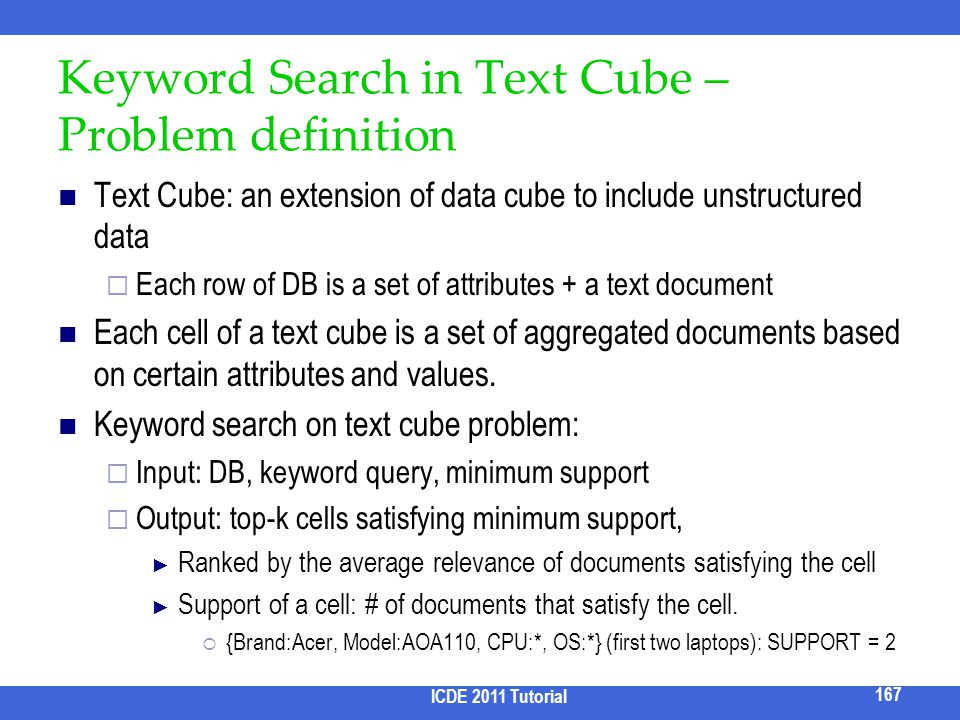 Keyword Search in Text Cube – Problem definition Text Cube: an extension of data cube to include unstructured data Each row of DB is a set of attribut