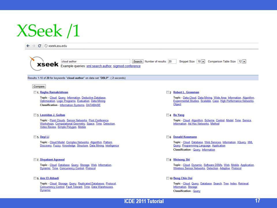 XSeek /1 ICDE 2011 Tutorial 17