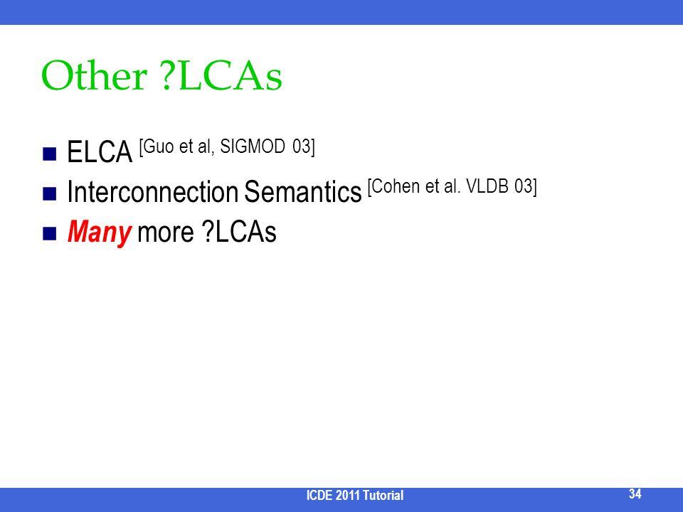 Other ?LCAs ELCA [Guo et al, SIGMOD 03] Interconnection Semantics [Cohen et al. VLDB 03] Many more ?LCAs 34 ICDE 2011 Tutorial