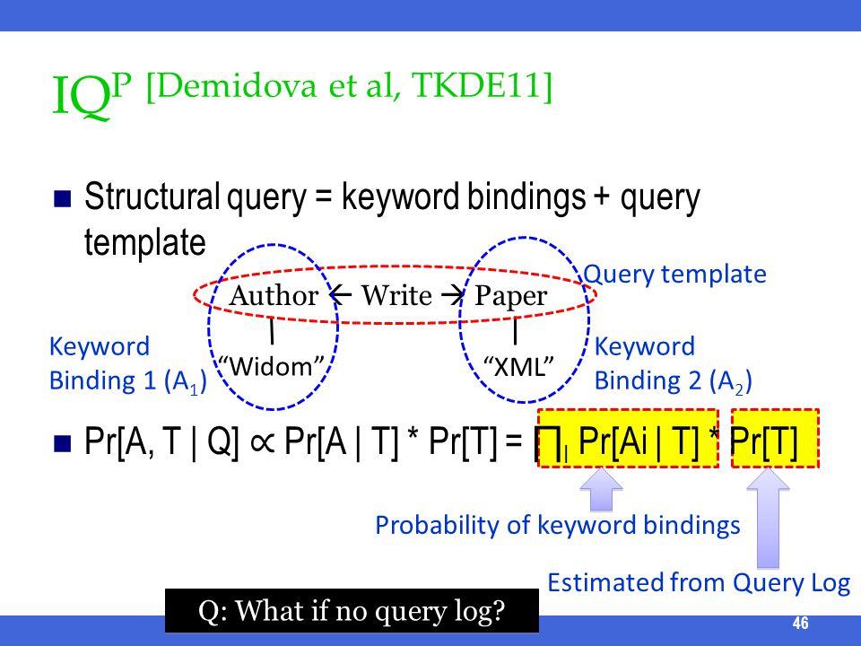 IQ P [Demidova et al, TKDE11] Structural query = keyword bindings + query template Pr[A, T | Q] Pr[A | T] * Pr[T] = I Pr[Ai | T] * Pr[T] ICDE 2011 Tut